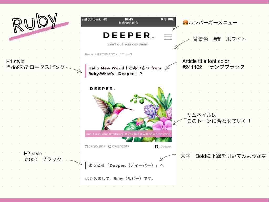 「Deeper.」個人ブログ・パーソナルメディアのつくり方 vol.3 トーン&マナーのレシピ