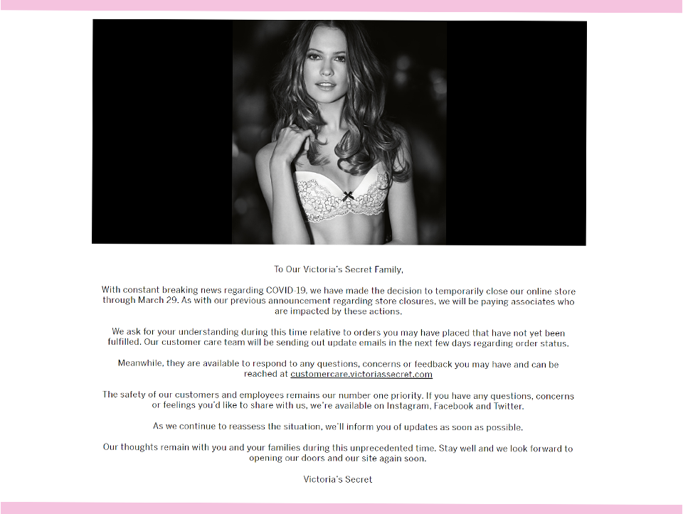 米・Victoria's Secret(ヴィクトリアズ・シークレット)オンラインストアも一時クローズを発表